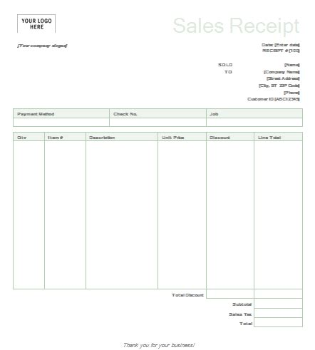 Sales Receipt Template Excel Free by 7 Free Sales Receipt Templates Word Excel Formats