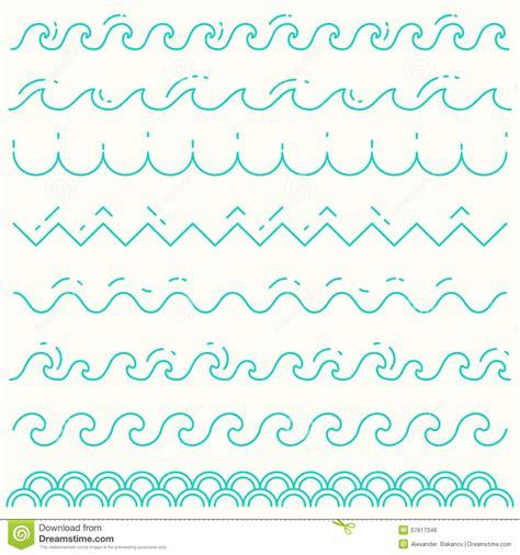 line pattern vector illustrator set linear waves blue wave line pattern vector stock
