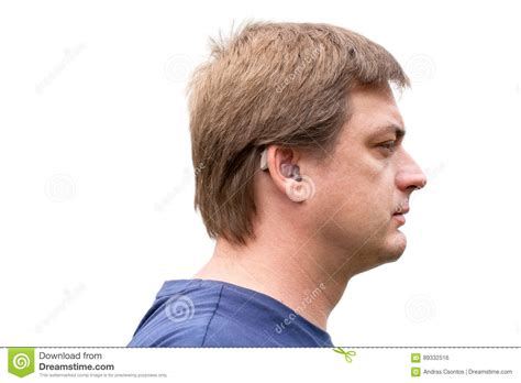 wraring hearing aid washed hair portrait of a man wearing hearing aid stock photo image