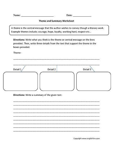 Summary And Idea Worksheet 1 Answers by Theme Worksheets Theme And Summary Worksheets