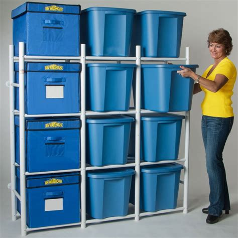 storage bin shelving system compact in plastic storage bins