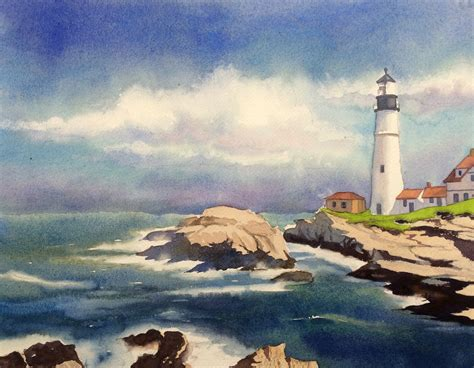 watercolor lighthouse tutorial classic step by step how to paint a seascape pics