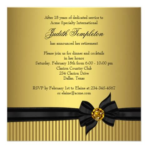 womens retirement party invitation elegant black and gold