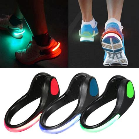 motorcycle shoes with lights 4 colors led luminous shoe clip light night safety warning