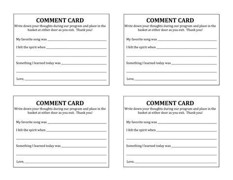 comment card template camille s primary ideas primary program 2015 program