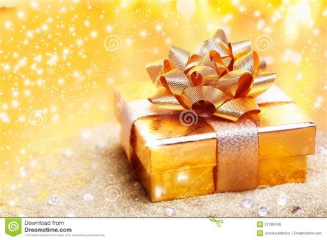 Luxury golden gift stock photo. Image of celebration