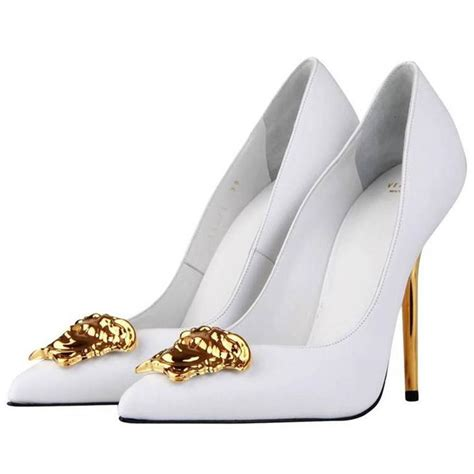 white high heels pumps new versace white leather medusa pumps heels it 38 5 at