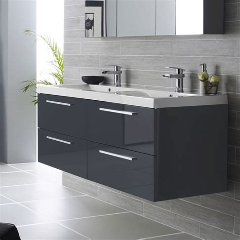 Bathrooms Vanity Units Hudson Reed Quartet Wall Mounted Vanity Unit Polymarble Basin High Gloss Grey