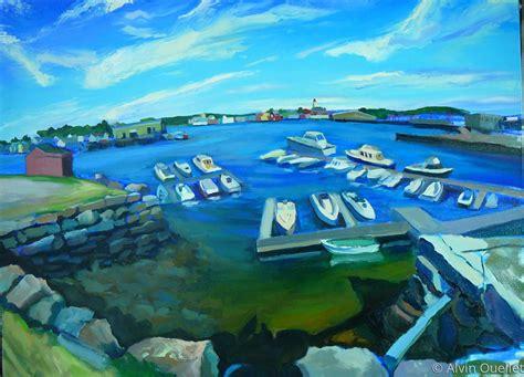 plein air oil paintings gloucester ma boat landing by - Boat Landing Gloucester