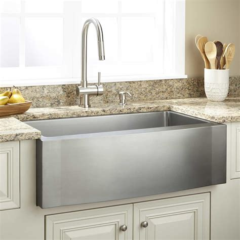 33 quot optimum stainless steel farmhouse sink wave apron