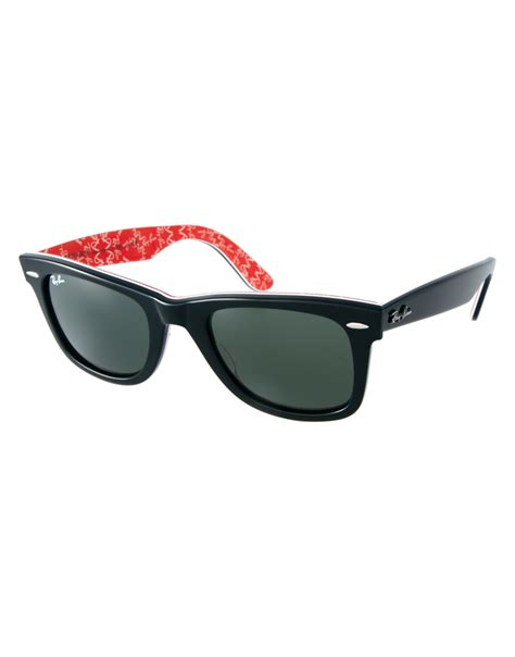 black and white ray ban wayfarers ray ban sunglasses wayfarer black red white frame