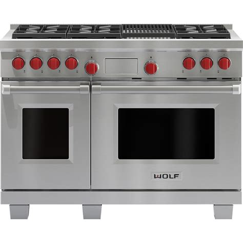 wolf duel fuel range review df486cwolf 48 quot dual fuel dual oven range classic stainless standard tv appliance