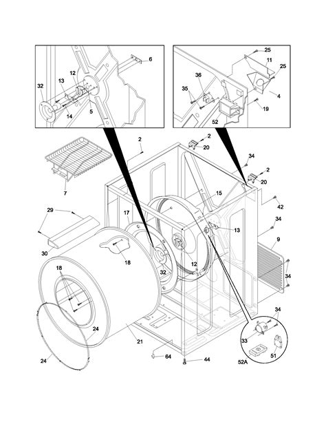 frigidaire dryer parts diagram cabinet drum diagram parts list for model ferb7800ds0
