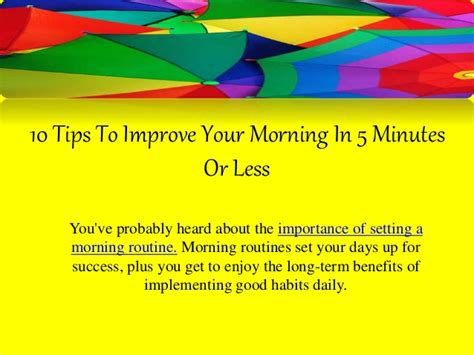 10 Tricks For Less by 10 Tips To Improve Your Morning In 5 Minutes Or Less