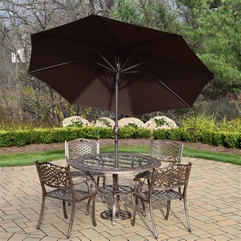 7 Patio Dining Set Glass Top Oakland Living Mississippi 7 Patio Dining Set With