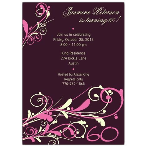 invitation wording for 60th birthday camia plum 60th birthday invitations paperstyle