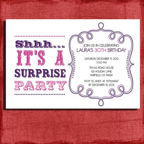 templates for surprise birthday invitations items similar to vintage style surprise birthday