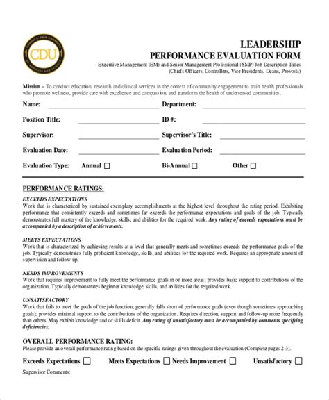 Sle Performance Appraisal Forms 12 Free Documents In Pdf Word Senior Executive Performance Review Template