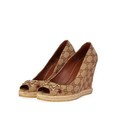 gucci gg peep toe wedges s 36 3 5 luxity