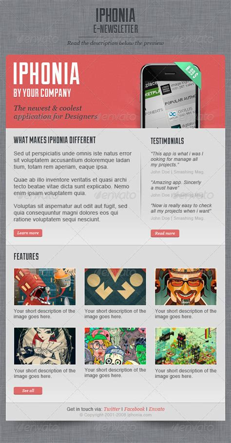 interactive newsletter templates iphonia newsletter template by oscarvega on deviantart