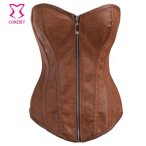 aliexpress buy vintage brown brocade halter collar steunk corset waist trainer steel corsets for