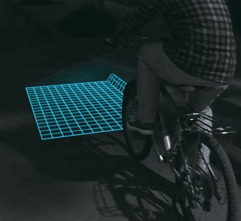 grid pattern bike light lumigrids leds map bicycle terrain pilot your bike like a