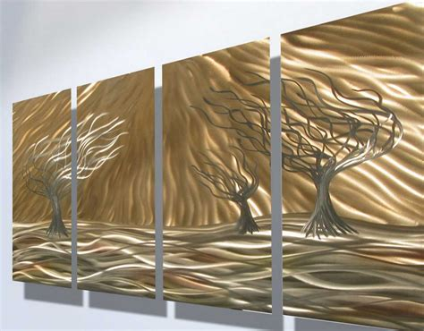 metal decorative wall with contemporary shiny trees