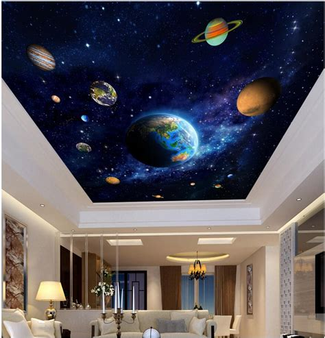 painting decor 3d ceiling murals wall paper picture blue planet space