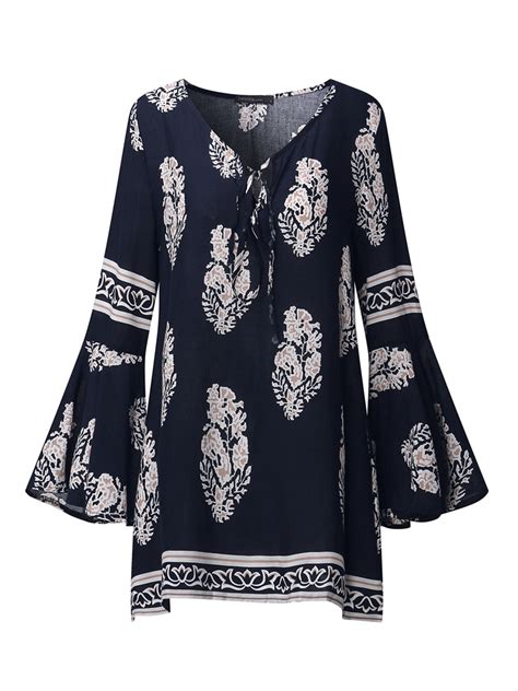 Floral Print Bell Sleeve Blouse bohemian floral print v neck bell sleeve blouses