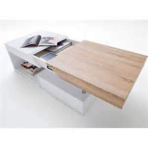 table basse design blanc laqu 233 et bois 120 cm