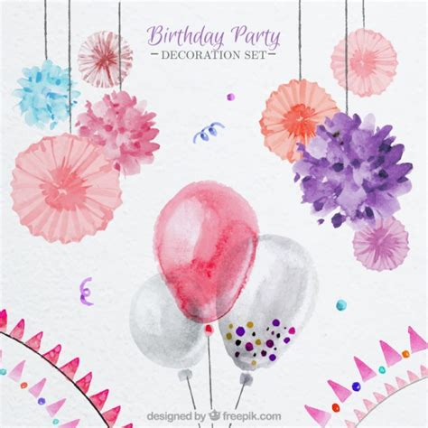 floral decoration watercolor balloons and floral decoration for birthday