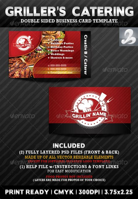 catering business cards templates free griller s catering business card templates graphicriver