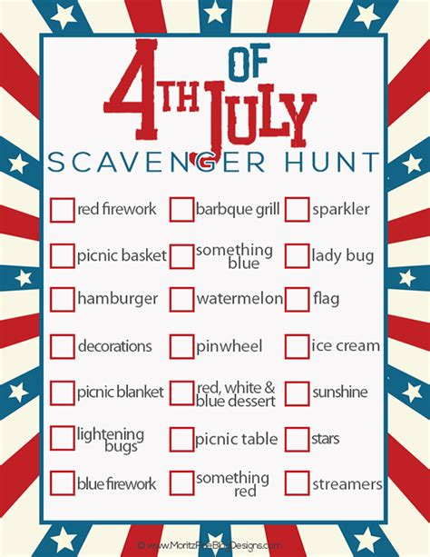printable 4th of july games 4th of july scavenger hunt for kids free printable