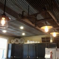 corrugated rusted tin in the kitchen kitchen great room