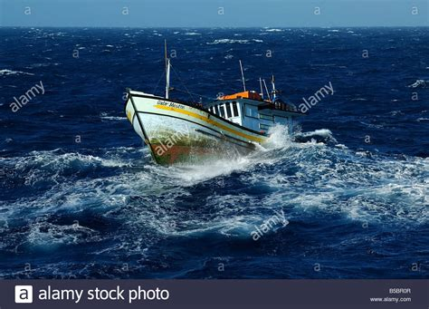 yellowfin boats in rough seas fishing boat in rough sea stock photo 20543175 alamy