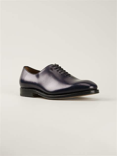 ferragamo oxford shoes ferragamo classic oxford shoes in blue for lyst
