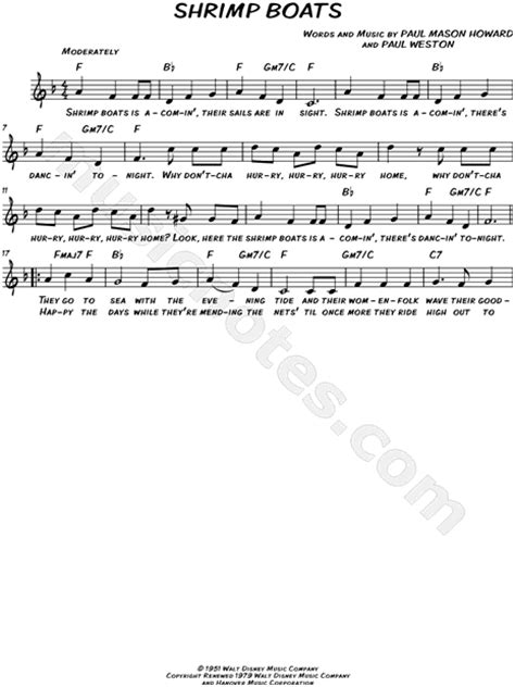 shrimp boat song lyrics jo stafford quot shrimp boats quot sheet music leadsheet in f