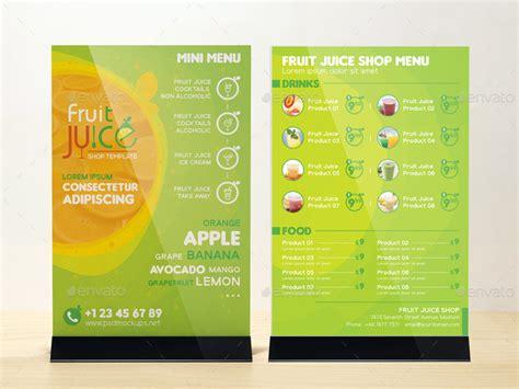Fruit Juice Shop Take Out Brochure And Mini Menu Template By Wutip2 Juice Menu Template