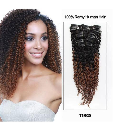 ombre hair extensions uniwigs wigs human hair 18 quot ombre color 7 pieces afro curly clip in remy human