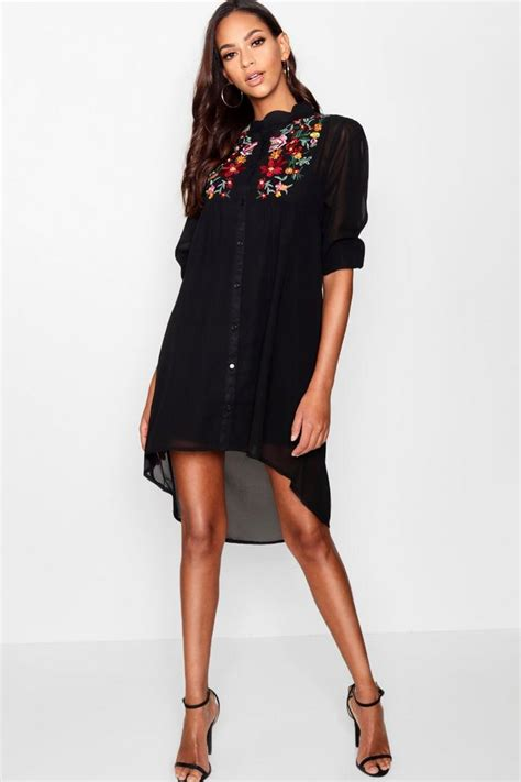 Embroidery Shirtdress boutique embroidered shirt dress boohoo