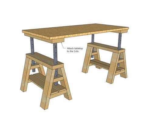 Ana White Build A Modern Indsutrial Adjustable Sawhorse White Sawhorse Desk