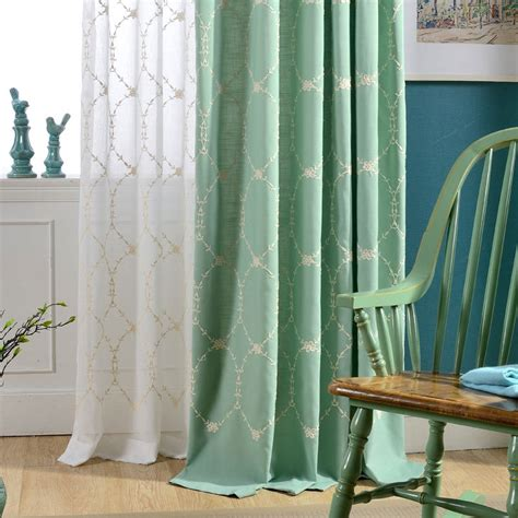 Modern Fabrics For Curtains Simple Design New Green Embroidered Green Cotton Curtain Fabric Wholesale Modern Balcony Window