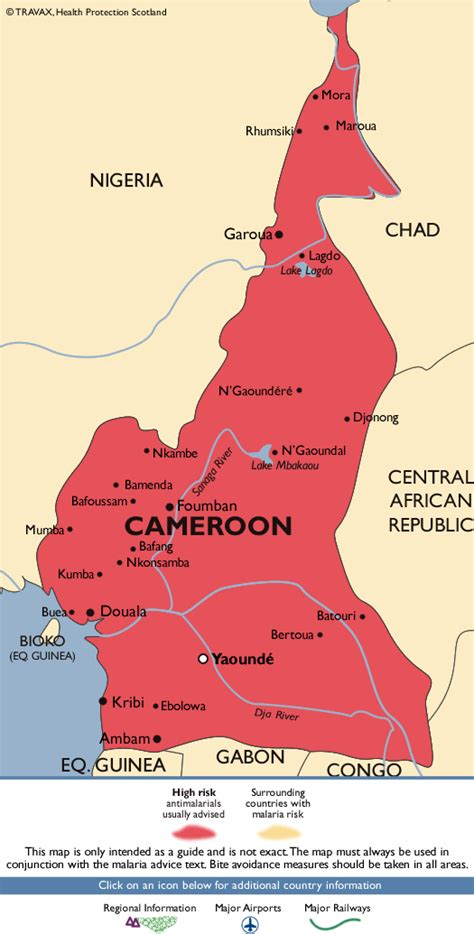 yaounde africa map cameroon malaria map fit for travel