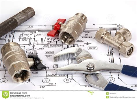 blueprint and plumbing supplies stock photo image 18200548