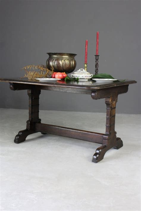 victorian gothic style oak dining table