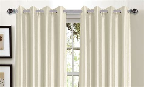 faux silk ivory curtains bella luna faux silk blackout curtain panels