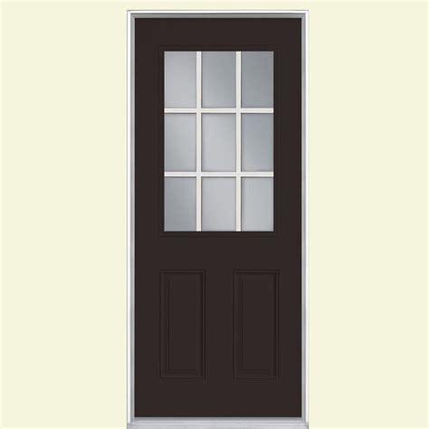 Exterior Doors Oakville Masonite 36 In X 80 In Oakville Lite Painted Steel Prehung Front Door With Brickmold