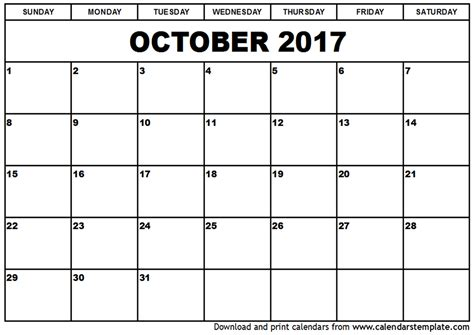 Calendar 2017 Template October October 2017 Calendar Weekly Calendar Template