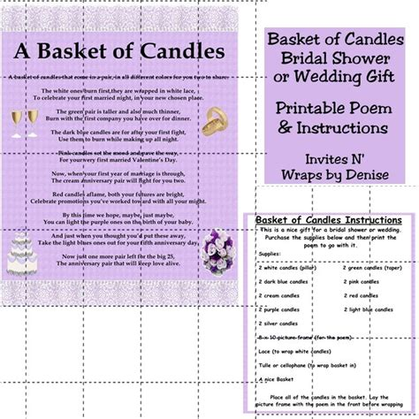 Baby Shower Gift Basket Poem by Wedding Candle Basket Gifts Diy