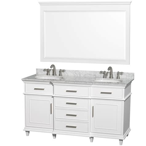 Ackley 60 Inch White Finish Double Sink Bathroom Vanity 60 In Sink Bathroom Vanity